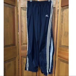 Adidas Tear Away Nylon Track Pants XL Blue White